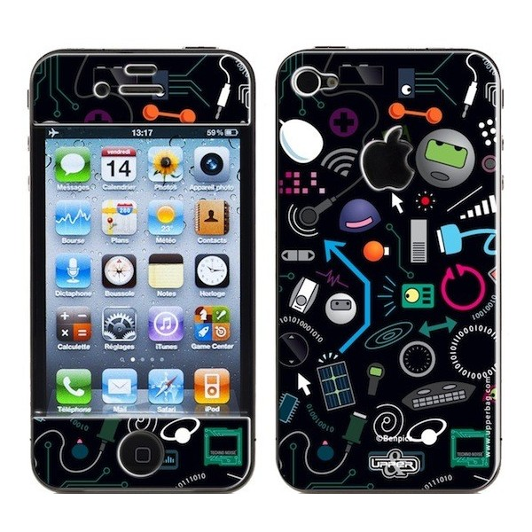 Skin 3D iPhone 4/4S Ben Techno Black