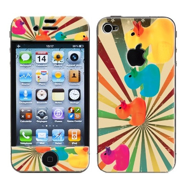 Coque 3D iPhone 4/4S Ducky Multi