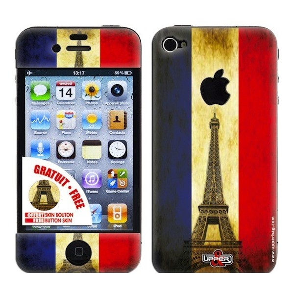 Skin 3D iPhone 4/4S French Flag Vintage
