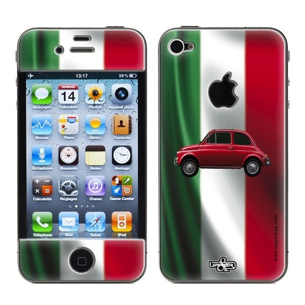 Skin 3D iPhone 4/4S Italia Flag & Fiat