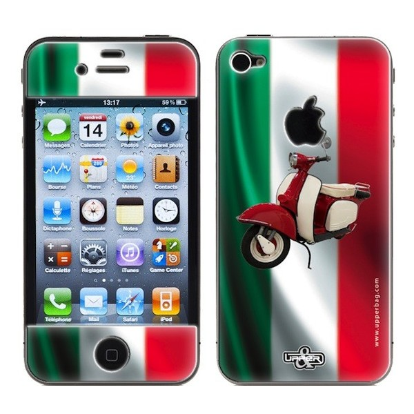 coque 3d iphone 4 4s italia flag vespa upperbag. Black Bedroom Furniture Sets. Home Design Ideas
