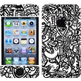 Coque 3D iPhone 4/4S Jigé BW Scary Flower