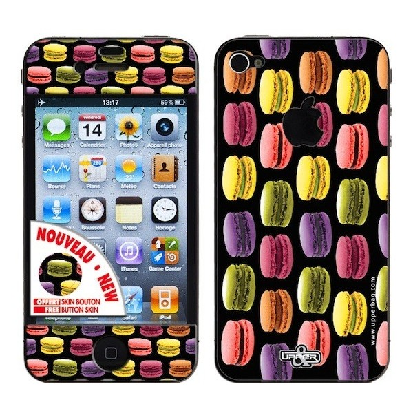 Skin 3D iPhone 4/4S Sweety Macarons Black