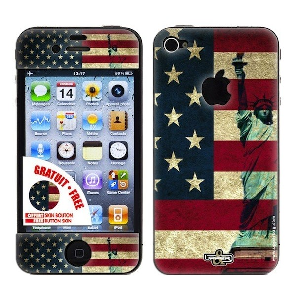 Skin 3D iPhone 4/4S USA Flag Vintage & Liberty