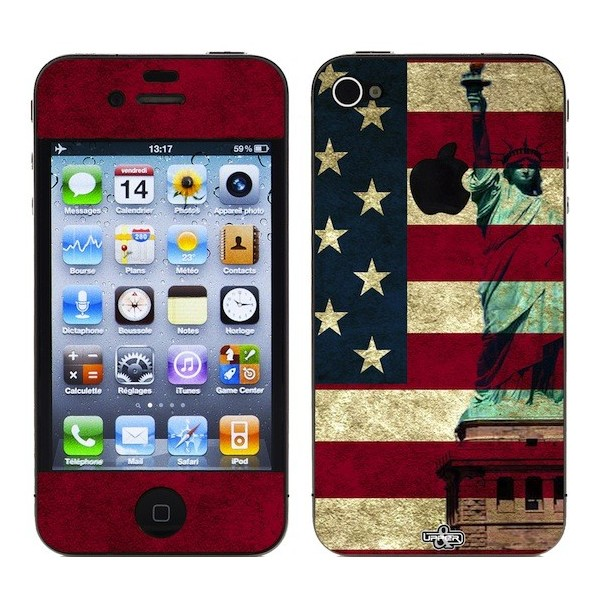 Skin 3D iPhone 4/4S USA Flag Vintage & Liberty Red