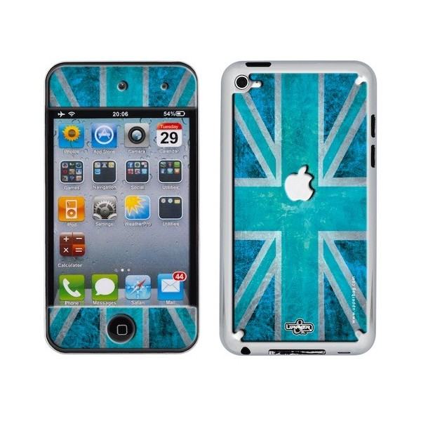 Coque 3D iPod Touch 4 UK Flag Vintage & Turquoise