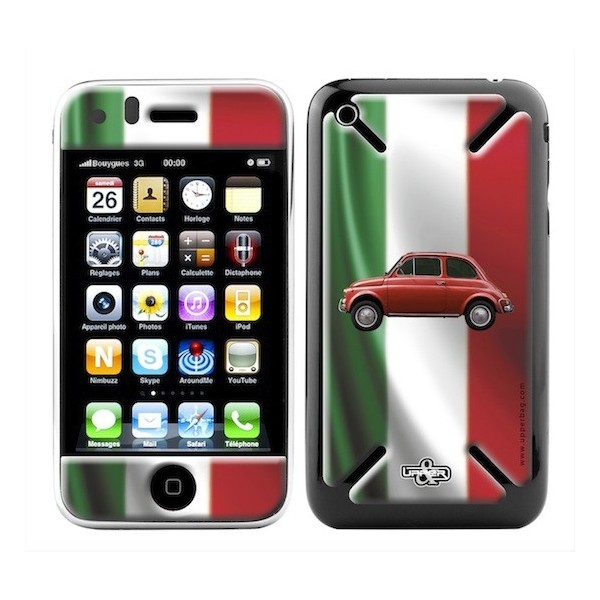 Coque 3D iPhone 3G/3GS Italia Flag & Fiat