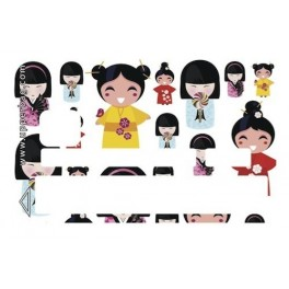 Sticker Credit Card Japanese Doll Multi