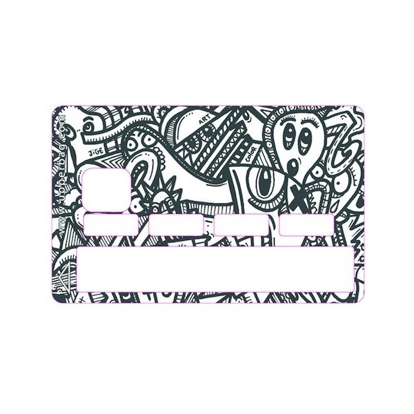 Sticker Credit Card Jigé BW Graphic Worm