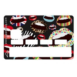 Sticker Credit Card Lips Multi