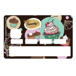 Sticker CB Sweety Cupcakes Vintage Black