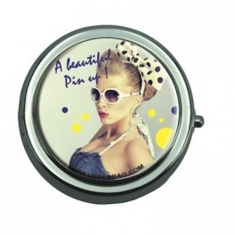 Pill Box with Mirror Beautiful Pin Up