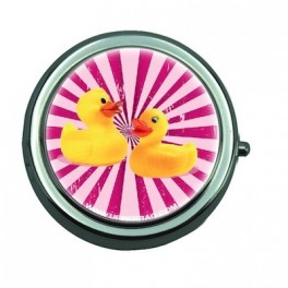 Pill Box with Mirror Ducky Pink