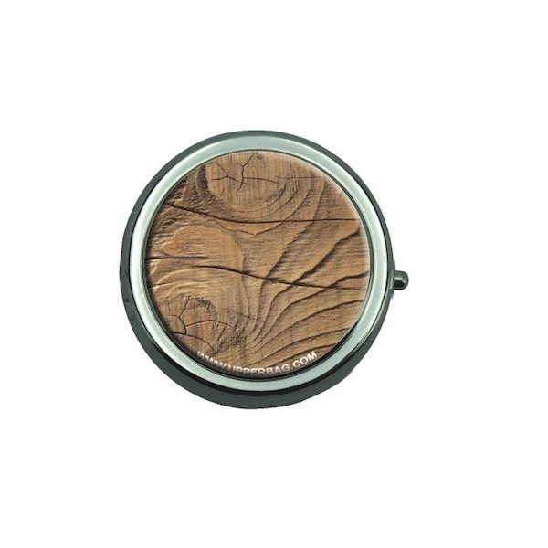 Pill Box with Mirror Earth Wood