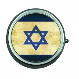 Pill Box with Mirror Israelian Flag Vintage