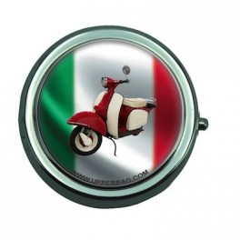 Pill Box with Mirror Italia Flag & Vespa