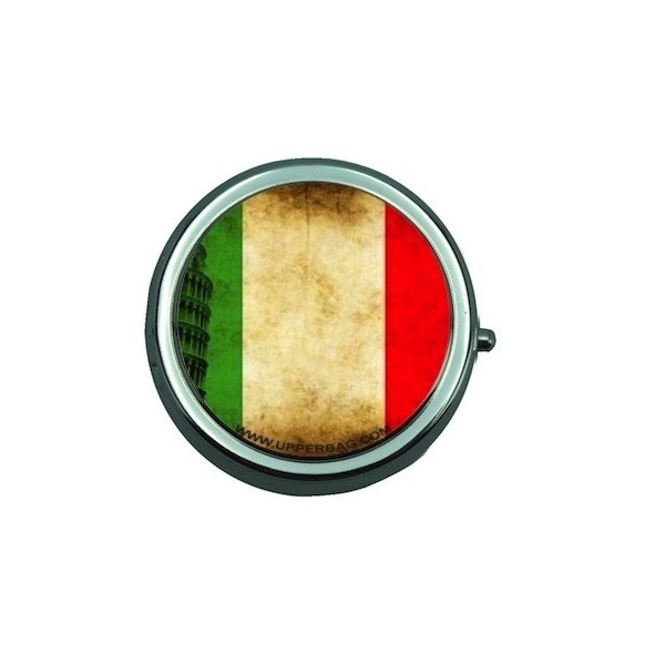 Pill Box with Mirror Italian Flag Vintage