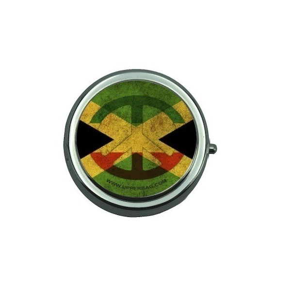 Pill Box with Mirror Jamaican Flag Vintage