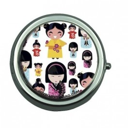 Pill Box with Mirror Japanese Doll Multi