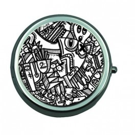 Pill Box with Mirror Jigé BW Graphic Worm
