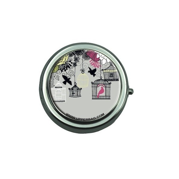 Pill Box with Mirror Liberty Birds