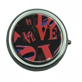 Pill Box with Mirror Love Black