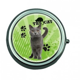 Pill Box with Mirror Love Little Cat Green