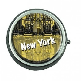 Pill Box with Mirror New York Yellow