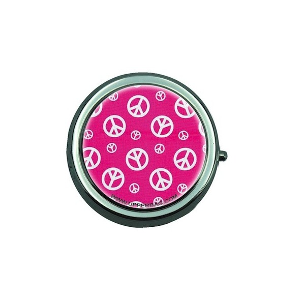 Pill Box with Mirror Peace & Pink