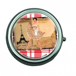 Pill Box with Mirror Retro Pin Up Paris