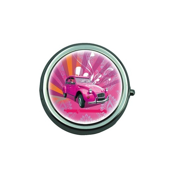 Pill Box with Mirror Retro 2 CV Pink
