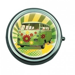 Pill Box with Mirror Retro Van Green