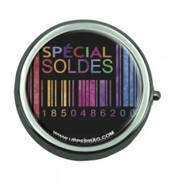 Pill Box with Mirror Soldes Black