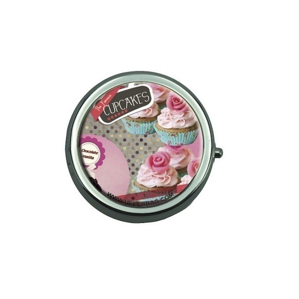 Pill Box with Mirror Sweety Cupcakes Vintage Black