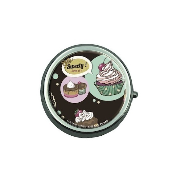 Pill Box with Mirror Sweety Cupcakes Vintage
