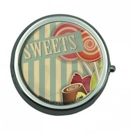 Pill Box with Mirror Sweety Lollipops Vintage