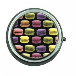 Pill Box with Mirror Sweety Macarons Black