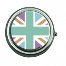 Pill Box with Mirror UK Flag Pastel