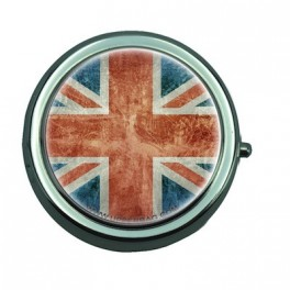 Pill Box with Mirror UK Flag Vintage