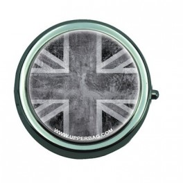 Pill Box with Mirror UK Flag Vintage & Black