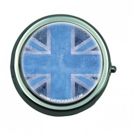 Pill Box with Mirror UK Flag Vintage & Blue