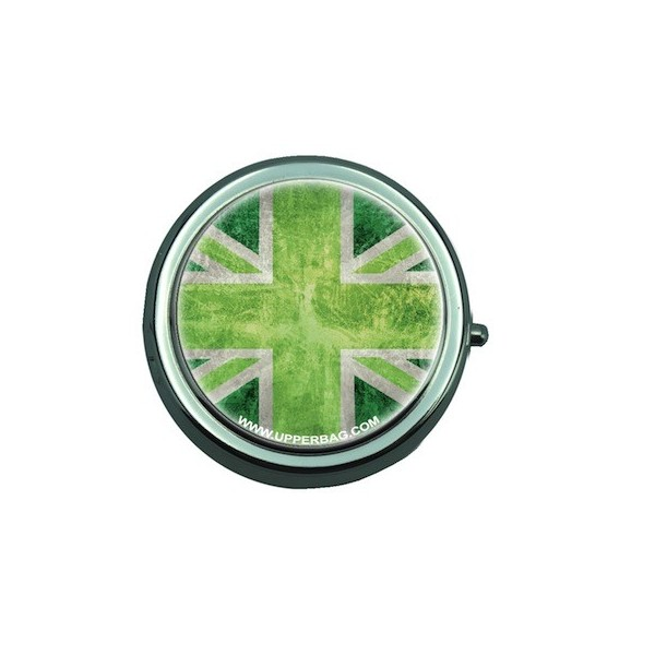 Pill Box with Mirror UK Flag Vintage & Green