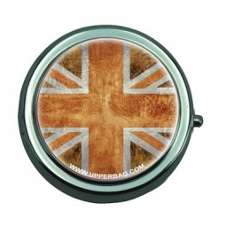 Pill Box with Mirror UK Flag Vintage & Orange