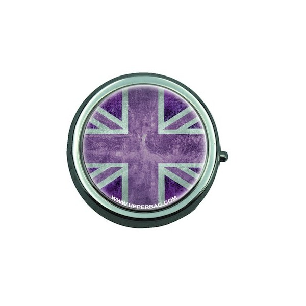 Pill Box with Mirror UK Flag Vintage & Purple