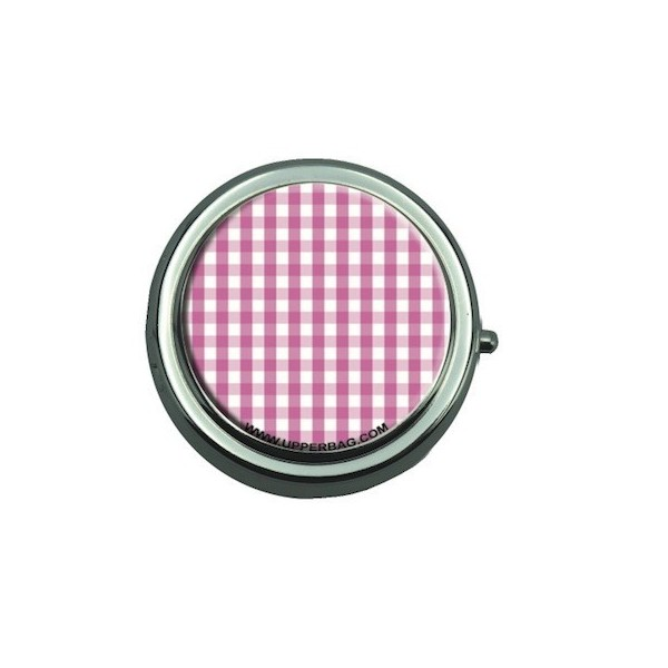 Pill Box with Mirror Vichy Pink
