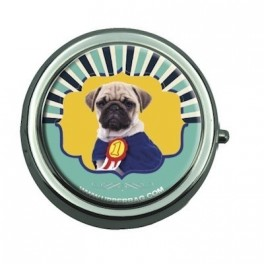 Pill Box with Mirror Vintage Dog
