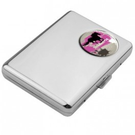 Porte Cartes Horse Grey And Pink